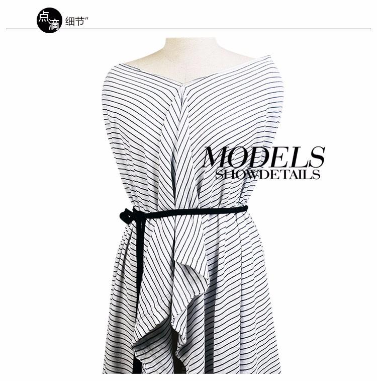 针织麻棉间条时尚细条纹夏季连衣裙服装面料