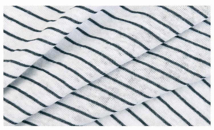 针织麻棉间条时尚细条纹夏季T恤服装面料