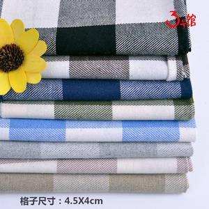 亚麻布料棉麻布料人字斜纹经典格子布衬衫服装面料桌布抱枕沙发布diy